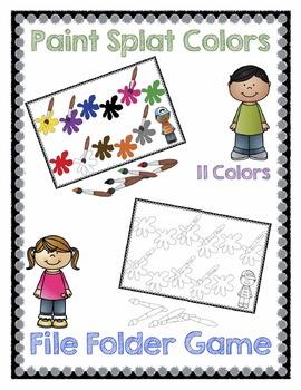 Paint Splat Colors File Folder Game