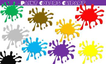 Paint splatter colorful. Colors clipart