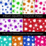 Paint Splatter Digital Paper - Splatter Pattern Backgrounds