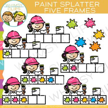 Paint Splatter Five Frames Clip Art