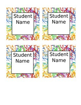 Paint Splatter Name Tags
