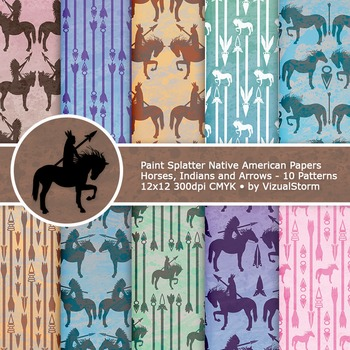 Paint Splatter Native American Patterns - 10 Handmade Tribal Digital Papers