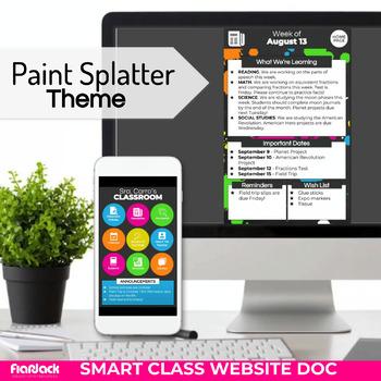 paint splatter smart class website doc google slides style tpt
