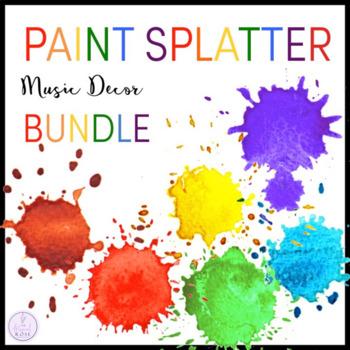 Paint Splatter Themed Music Classroom Decor Bundle