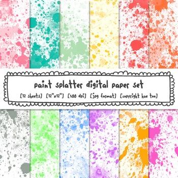 Paint Splatter Watercolor Digital Paper, Rainbow Bright Colors Backgrounds