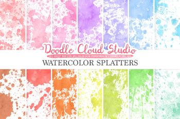 Paint Splatter digital paper, Watercolor Painted Splatters, Pastel Colorful