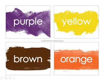 Paint Splattered Color Flash Cards in English and Spanish