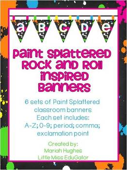 Paint Splattered Rock and Roll Inspired Pennant Banners