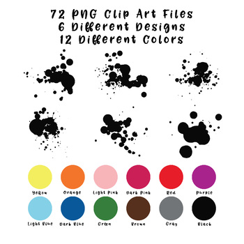Paint Splatters Clip Art - 72 png files - 6 designs in 12 different colors