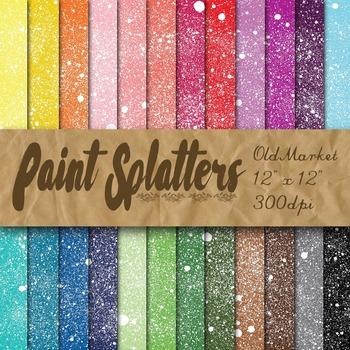 Paint Splatters - Digital Paper Pack - 24 Different Papers - 12 x 12