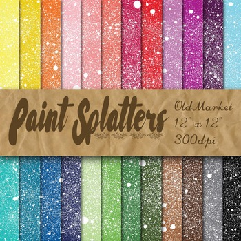 Paint Splatters - Digital Paper Pack - 24 Different Papers