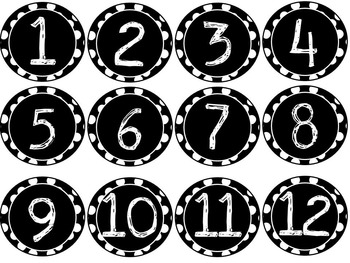 Paint Stick Numbers {Black and White Polka Dot}