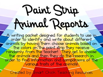 Paint Strip Animal Report Booklet Writing Activity