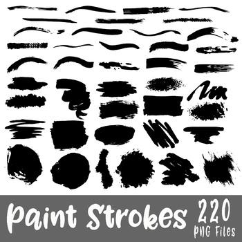 Paint Strokes Clip Art - 220 png files - Black clipart images