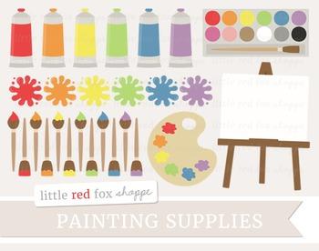 Paint Supplies Clipart; Paintbrush, Paint Brush, Tube, Easel