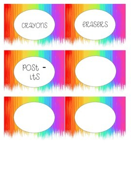 Paint Themed Classroom Supply Labels