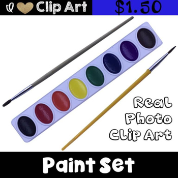 Paint Tray and Paint Brush Clip Art