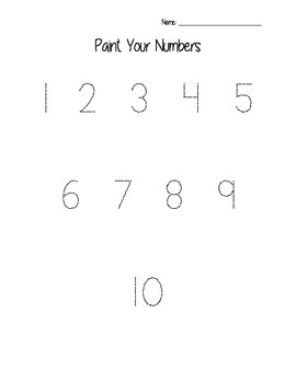 Paint Your Numbers Printable Worksheet