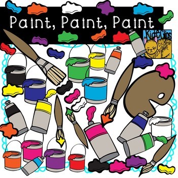 Paint and Paintbrushes Clip Art by Kid-E-Clips Commercial