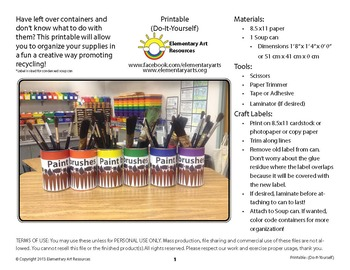 Paint brushes Labeling Cards for Bins or Labels & Classroom Organization