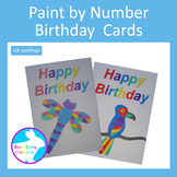 Paint by Number Birthday Cards with UK Spellings
