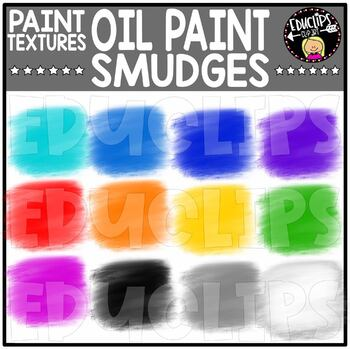 Paint textures - Oil Paint Smudges - Clip Art Set {Educlips Clipart}