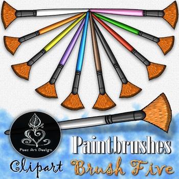 Paintbrush CLIPART: Fan Tip - Brush FIVE {Paez Art Design}