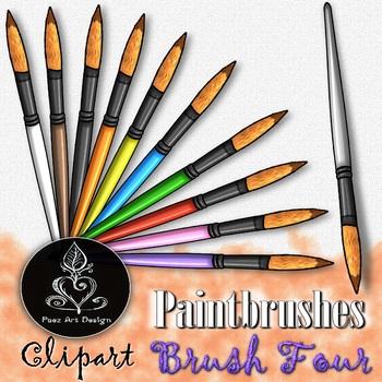 Paintbrush CLIPART: Round Tip - Brush FOUR {Paez Art Design}