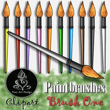 Paintbrush CLIPART: Curvy Sharp Tip - Brush ONE {Paez Art Design}