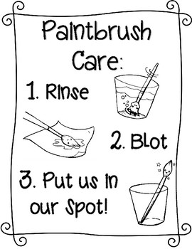 Paintbrush Care Signs and Mini-Poster (Non-Editable)