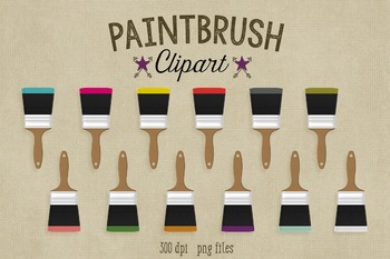 Paintbrush Clipart, 12 Dipped Paintbrushes
