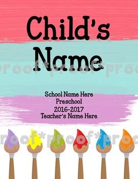 Paintbrush Homework Folder Cover Sheet