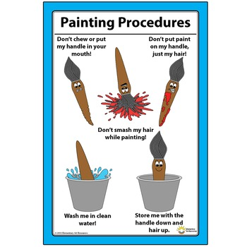 """12"""" x 18"""" Paintbrush Painting Procedures How To Clean And Care - Elementary Art"""