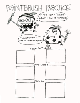 Paintbrush Practice Sheet with Video Link! (little monsters)