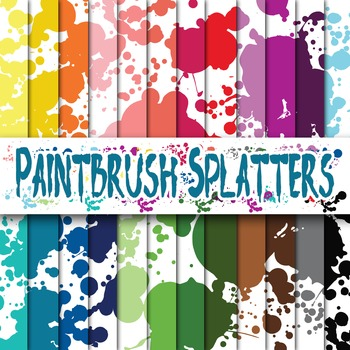 Paintbrush Splatters - Digital Paper Pack - 24 Different Papers - 12 x 12