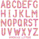 Painted Alphabet Clipart / Pink and Orange Digital Alpha