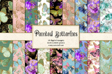 Painted Butterflies Digital Paper - pattern backgrounds