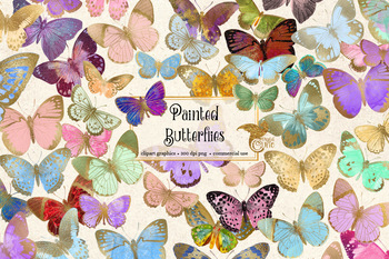 Painted Butterfly Clip Art, gold foil watercolor spring graphics, commercial use