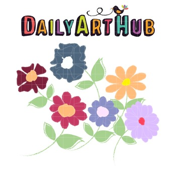 Painted Flowers Clip Art - Great for Art Class Projects!