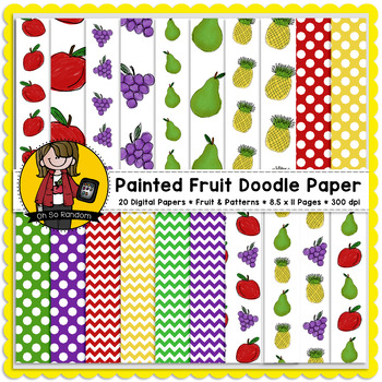 Painted Fruit Doodle Digital Papers {CU}