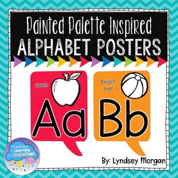 Rainbow Painted Palette Inspired Alphabet Posters