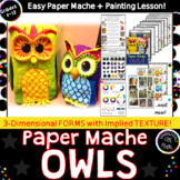 Hand Painted Owls! Paper Mache Art Sculpture Lesson with Handouts & Worksheets