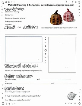 Painted Pumpkin Planning & Reflection Sheet