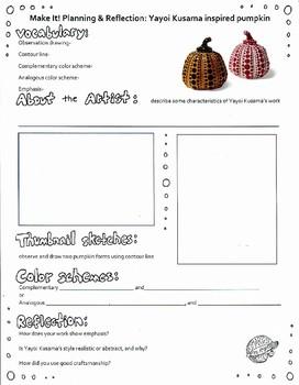 Painted Pumpkin Planning & Reflection Sheet