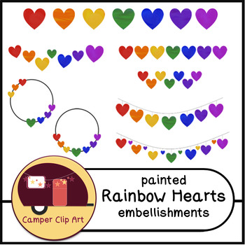 Painted Rainbow Hearts Embellishments, Bunting {CU - Commercial Use ok!}