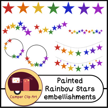 Painted Rainbow Stars Embellishments, Bunting, Banners {CU - Commercial Use ok!}