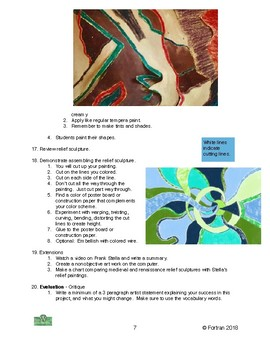Painted Relief Sculpture Visual Arts Lesson for 4th to 8th Grade