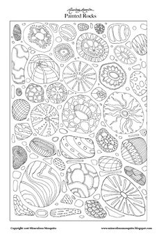 Painted Rocks - Printable Colouring Page for Adults and Children.
