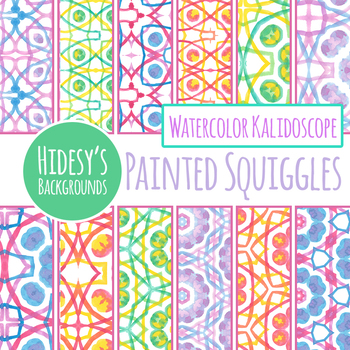 Painted Squiggles Handpainted Watercolor Digital Paper / Pattern / Backgrounds
