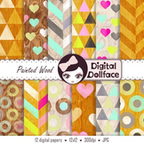 Painted Wood Digital Paper, Cute, Retro Background Patterns